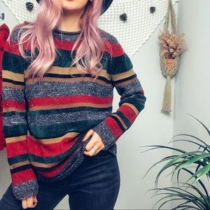 Vintage Holiday Striped Sweater
